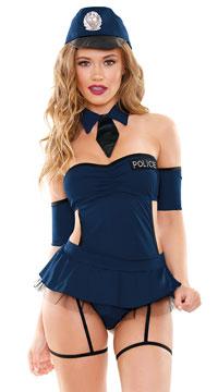 Miss Demeanor Police Lingerie Costume - Navy