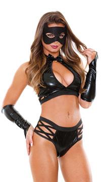 Feline Fetish Lingerie Costume - Black