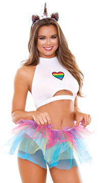 Playful Pride Unicorn Lingerie Costume - White