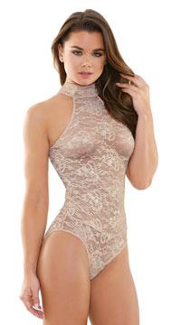 Carissa High Neck Lace Playsuit - Nude