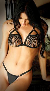 Fringe Benefits Cutout Bra Set - Black