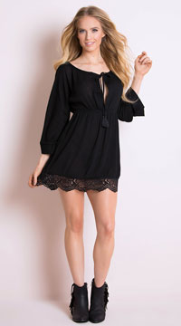 Moonlight Gauze Long Sleeve Dress - Black