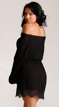 7e9bbb26a5 Plus Size Moonlight Gauze Long Sleeve Dress, Plus Size Black Shift ...