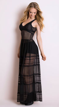 Mystic Lace Maxi Dress - Obsidian