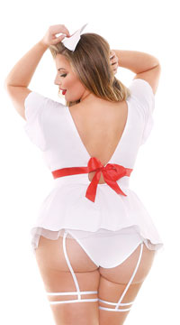 Plus Size Bedside Naughty Nurse Lingerie Costume - White