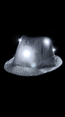 Sparkly Fedora With Flashing LED Lights - Silver
