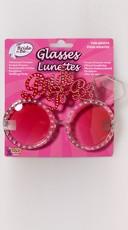 Rhinestone Studded Bride To Be Glasses with Diamond - Black/Pink