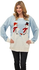 Frozen Frisky Couple Sweater - Blue/White