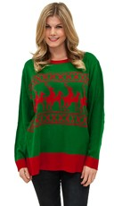 Plus Size Reindeer Games Sweater - Green