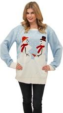 Plus Size Frozen Frisky Couple Sweater - Blue/White