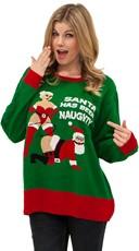 Plus Size Naughty Santa Sweater - Green