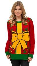 Plus Size All Wrapped Up Sweater - Red/Yellow