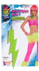 Neon Green Lightning Bolt Earrings - Green