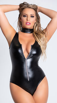 Guilty Pleasure Vinyl Bodysuit - Black