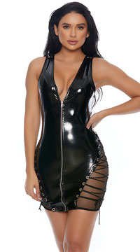 Dark Ideas Zip-Up Dress - Black