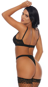 Test Me Lace & Mesh Bra Set - Black