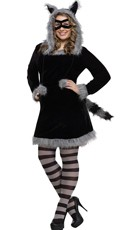 Plus Size Sexy Raccoon Costume - Black
