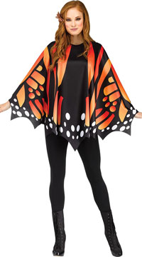 Butterfly Wing Poncho Costume - Orange