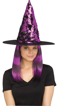 Magic Sequin Switch Witch Hat - Purple