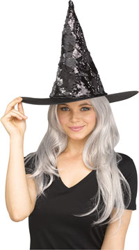 Magic Sequin Switch Witch Hat - Silver
