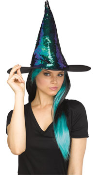 Magic Sequin Switch Witch Hat - Teal