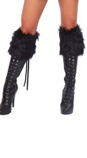 Fur Boot Topper - Black W/ Black Bows