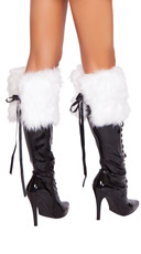 Fur Boot Topper - White W/ Black Bows