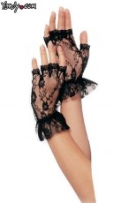 Lace Fingerless Wrist Ruffle Gloves - Black