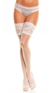 Plus Size Wide Lace Top Thigh Highs - Champagne