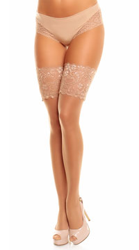 Plus Size Wide Lace Top Thigh Highs - Make Up
