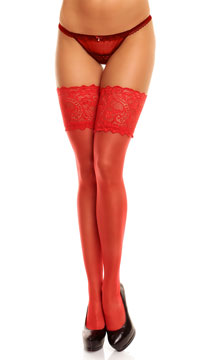 Plus Size Wide Lace Top Thigh Highs - Red