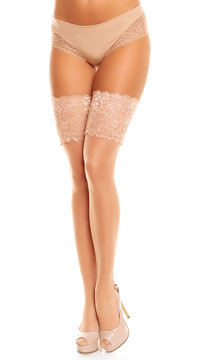 Plus Size Wide Lace Top Thigh Highs - Teint