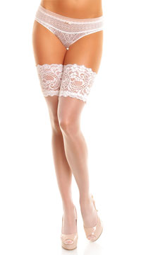 Plus Size Wide Lace Top Thigh Highs - White