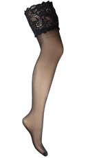 Plus Size Sheer Stockings with Paisley Lace - Black