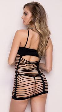 Strappy Desire Seamless Chemise Mini Dress - Black