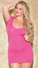 Plus Size Shredded Back Cap Sleeve Mini Dress - Hot Pink