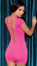 Shredded Back Cap Sleeve Mini Dress - Hot Pink