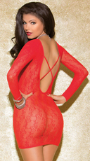 Simply Fetching Long Sleeve Chemise - Red