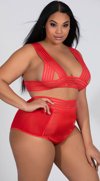 Plus Size Bandage Babe Bra Set - Red