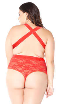 Plus Size Open Heart Lace Teddy - Red