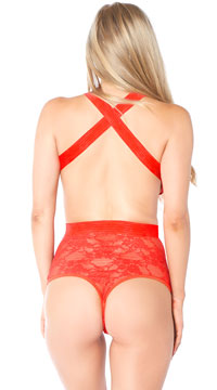 Open Heart Lace Teddy - Red