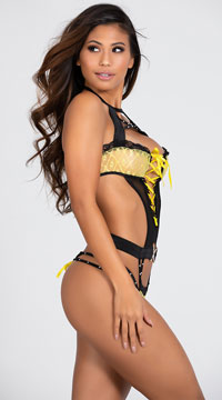 Lace and Rhinestone Glamour Teddy - Black/Yellow