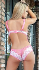 Plunging Lace Teddy - Pink
