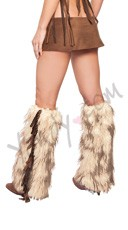 Groovy Fringe Mohair Legwarmers - Light Brown/White