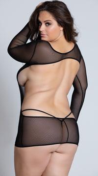 Plus Size Long Sleeve Backless Chemise - Black