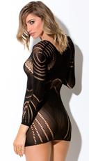 Circular Netted Long Sleeve Chemise - Black
