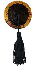 Two Tone Sequin Pasties with Tassels - Black/Gold