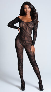 Sexy Midnight Swirl Bodystocking - Black