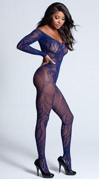 Sexy Midnight Swirl Bodystocking - Navy Blue