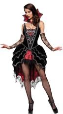 Deluxe Dark Webbed Mistress Costume - Black/Red
